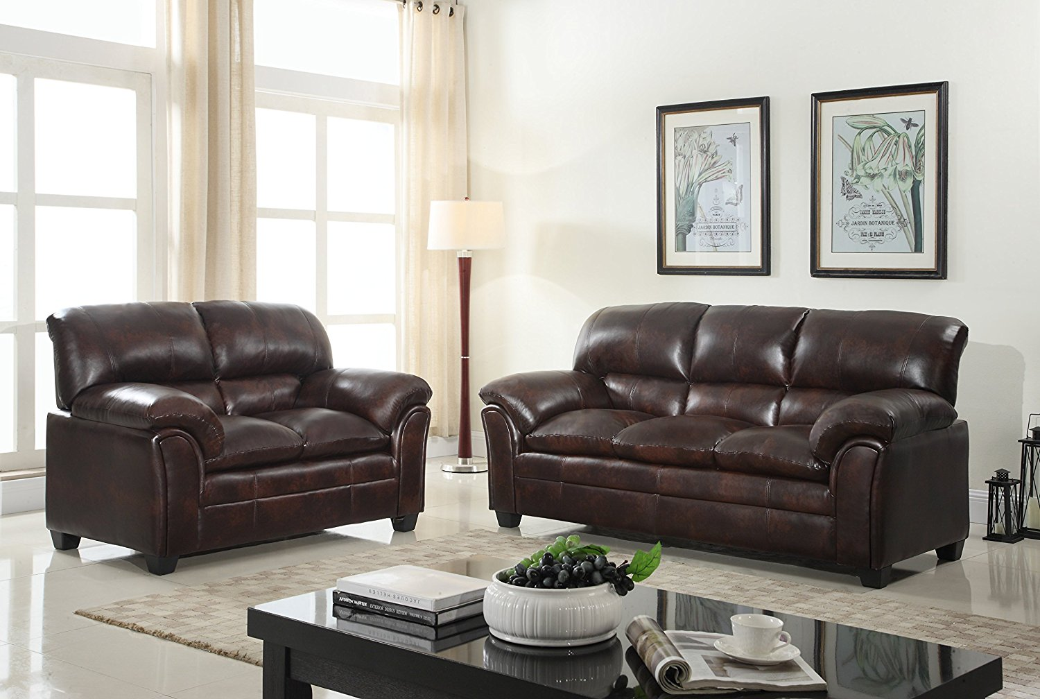 GTU Furniture New Faux Leather Sofa and Loveseat Living Room Furniture Set (Brown)