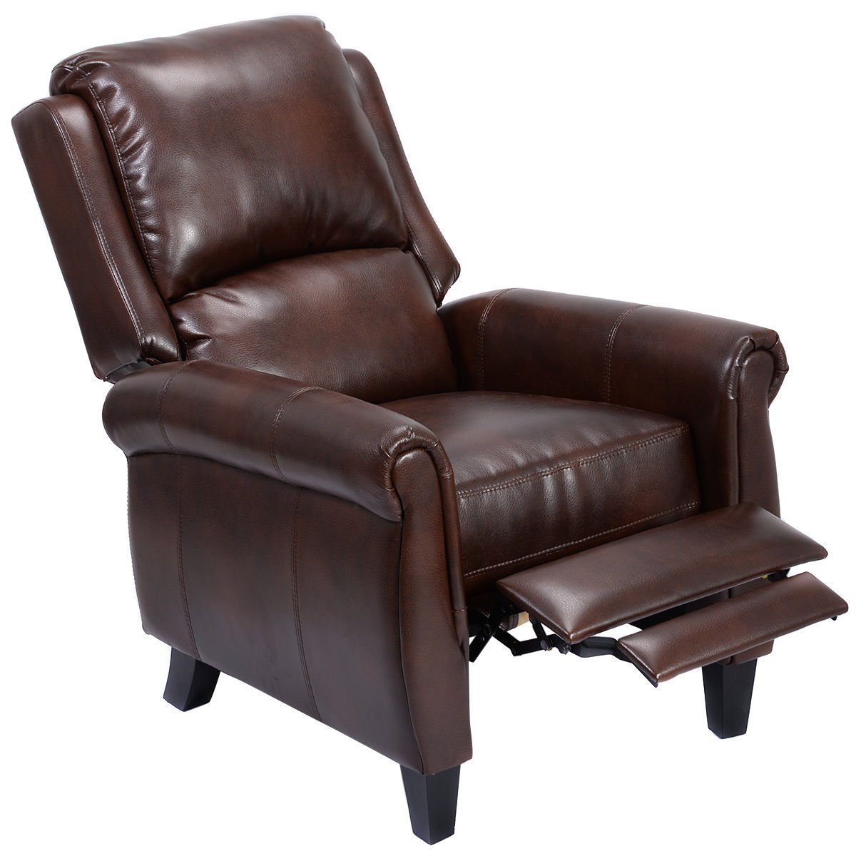 Giantex PU Leather Recliner Chair Push Back Club Living Room Seat Furniture w/Footrest (Brown)