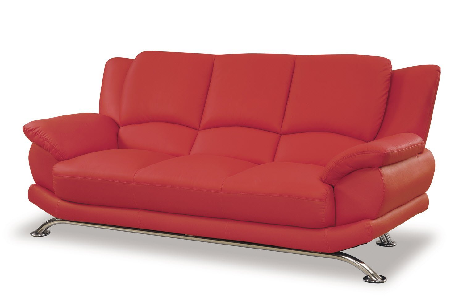 Global Furniture Rogers Collection Bonded Leather Matching Sofa, Red with Chrome Legs
