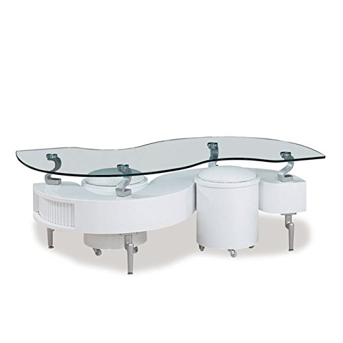 Global Furniture White Occasional Coffee Table with Silver Legs