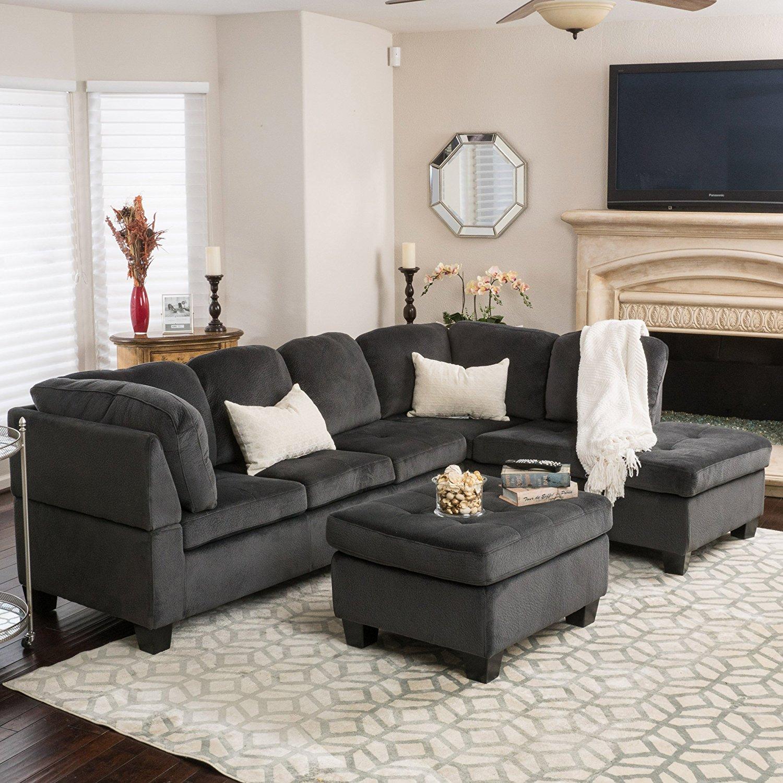 Gotham 3-piece Charcoal Fabric Sectional Sofa Set