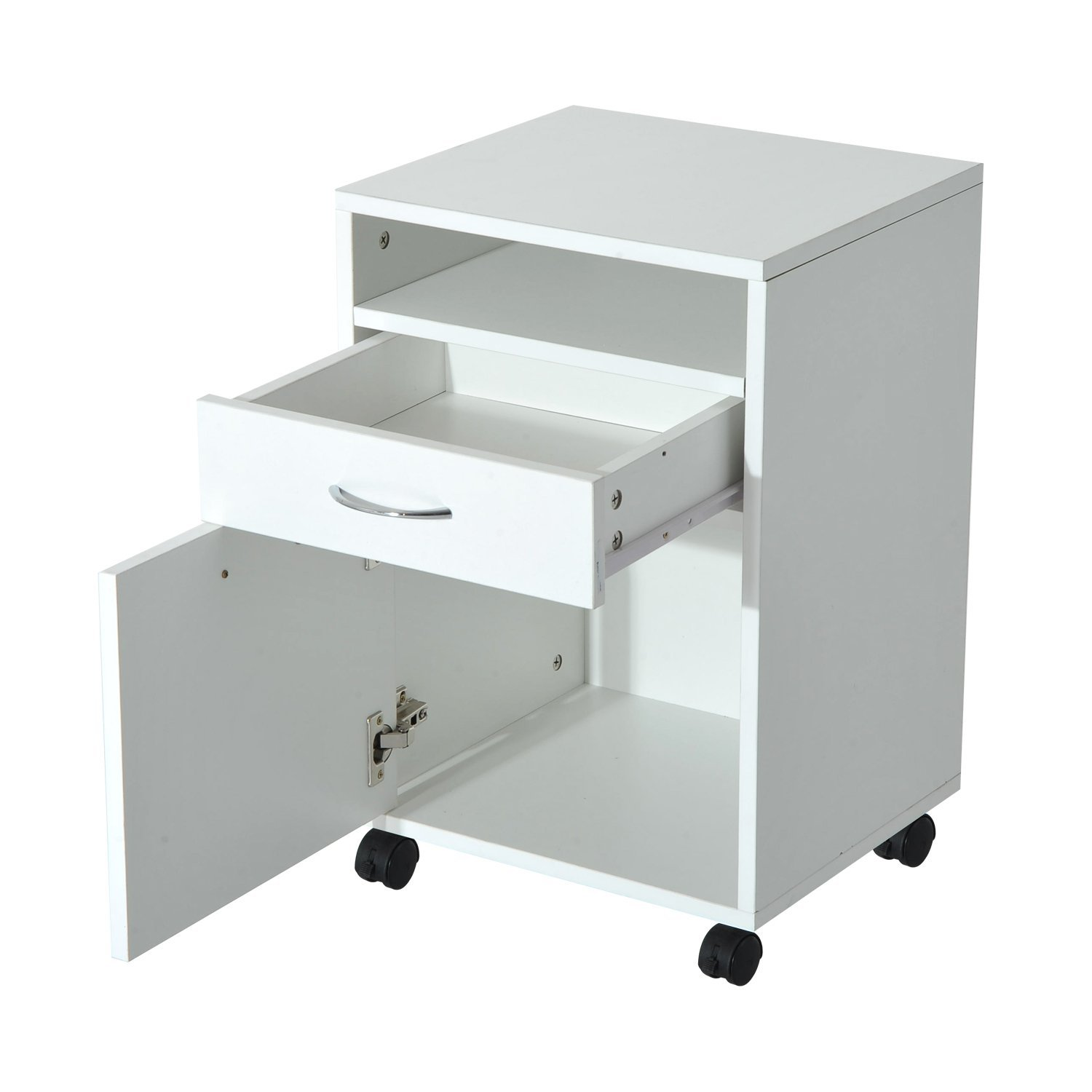"""HomCom 24"""" Mobile Printer Stand / Office Storage Cabinet On Wheels - White"""