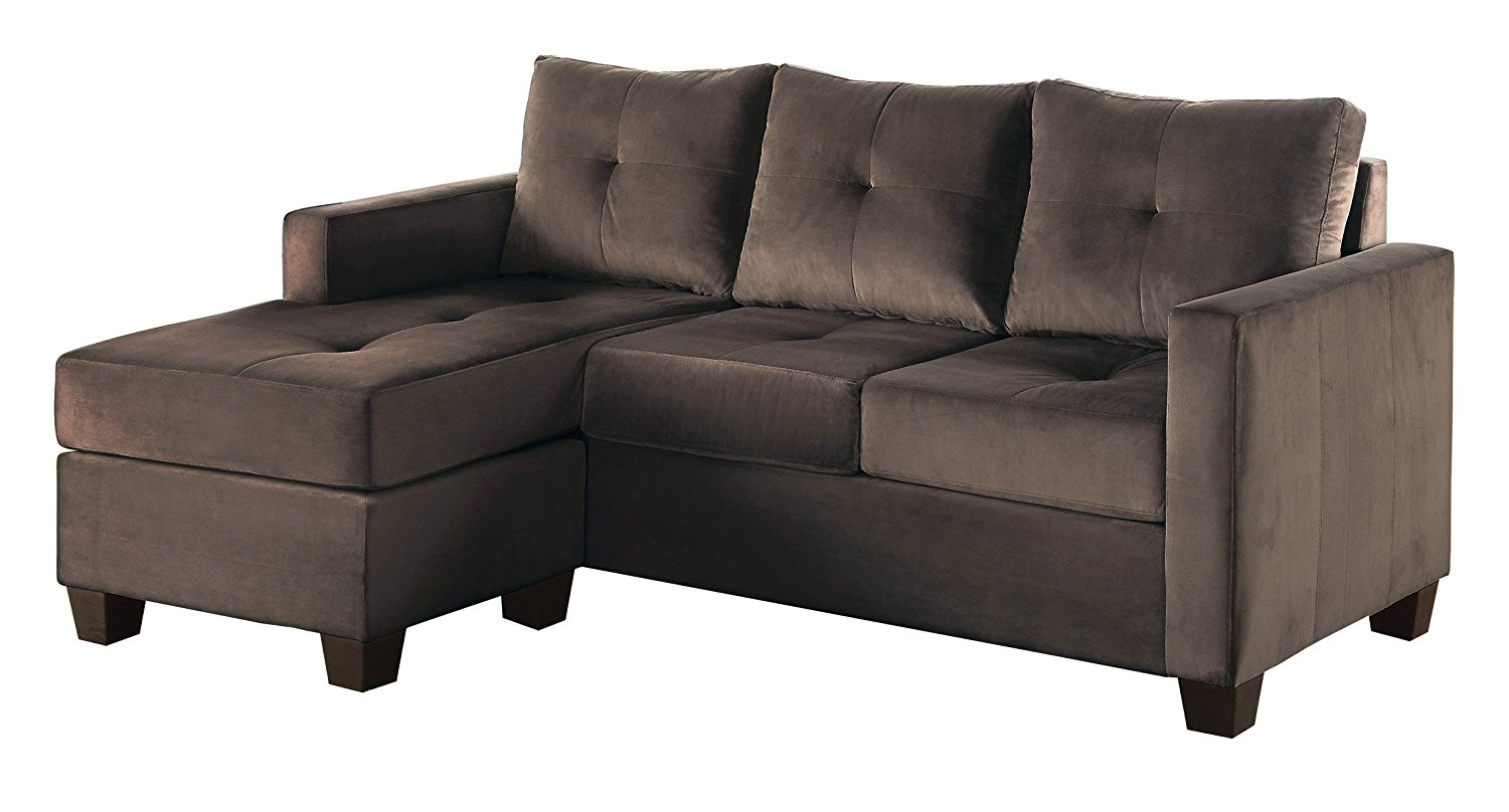 Homelegance Phelps Contemporary Microfiber Sofa Chaise with Tufted Accent, Brown