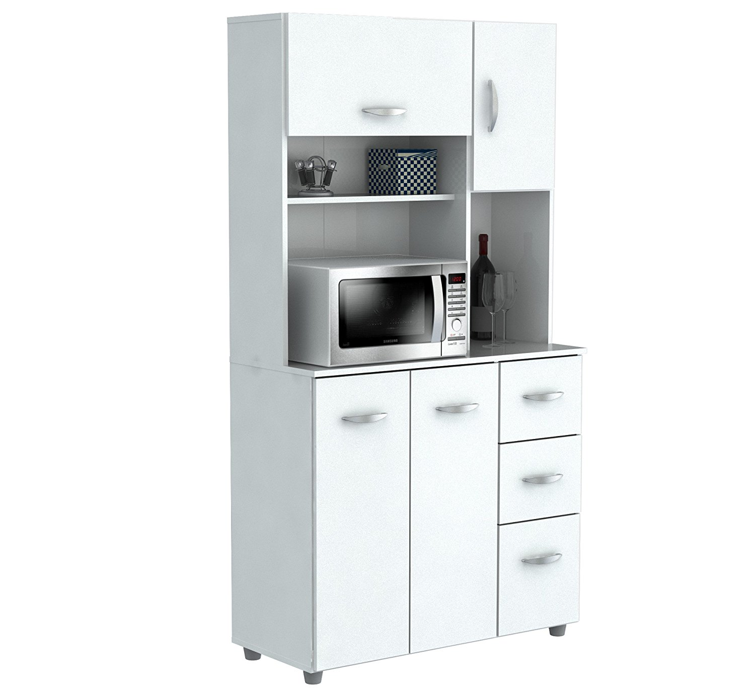 Inval America 4 Door Storage Cabinet with Microwave Cart, Laricina White