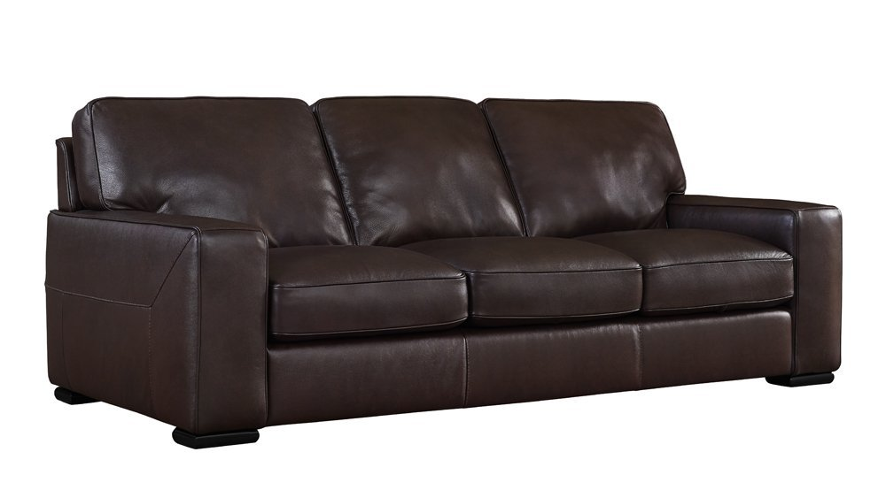 Matera Collection Brown Leather Stationary Sofa