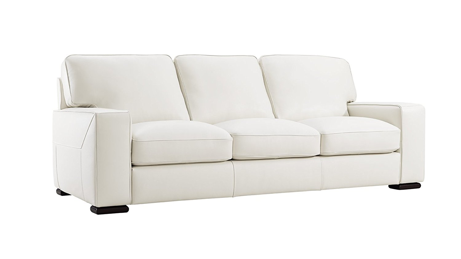 Matera Cream Leather Stationary Sofa