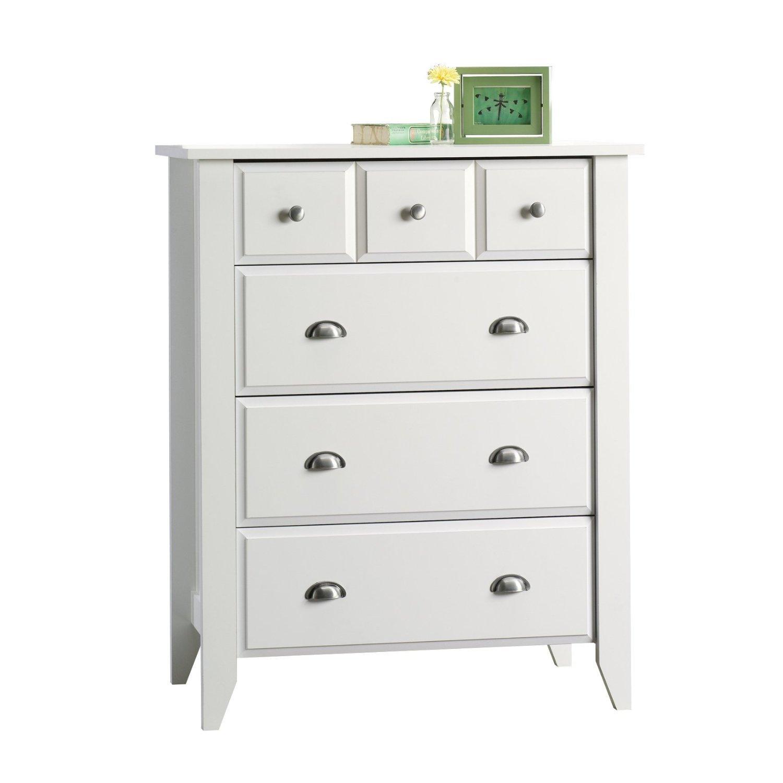 Modern Four Drawer Dresser - Contemporary Elegant Stylish Chest Indoor Furniture Home Living Room Bedroom Storage Additional (White)