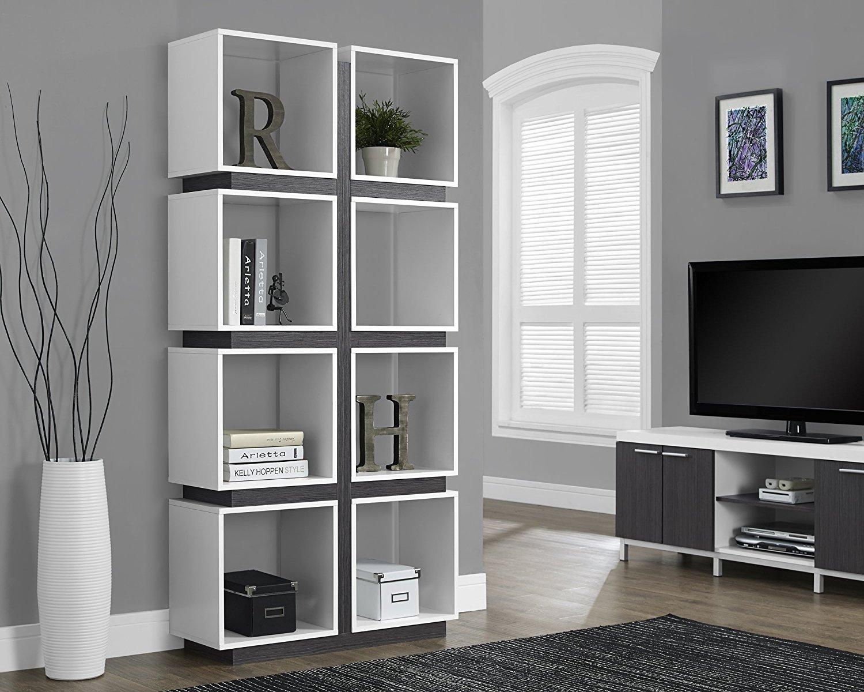 Monarch Specialties White/Grey Hollow-Core Bookcase, 71-Inch