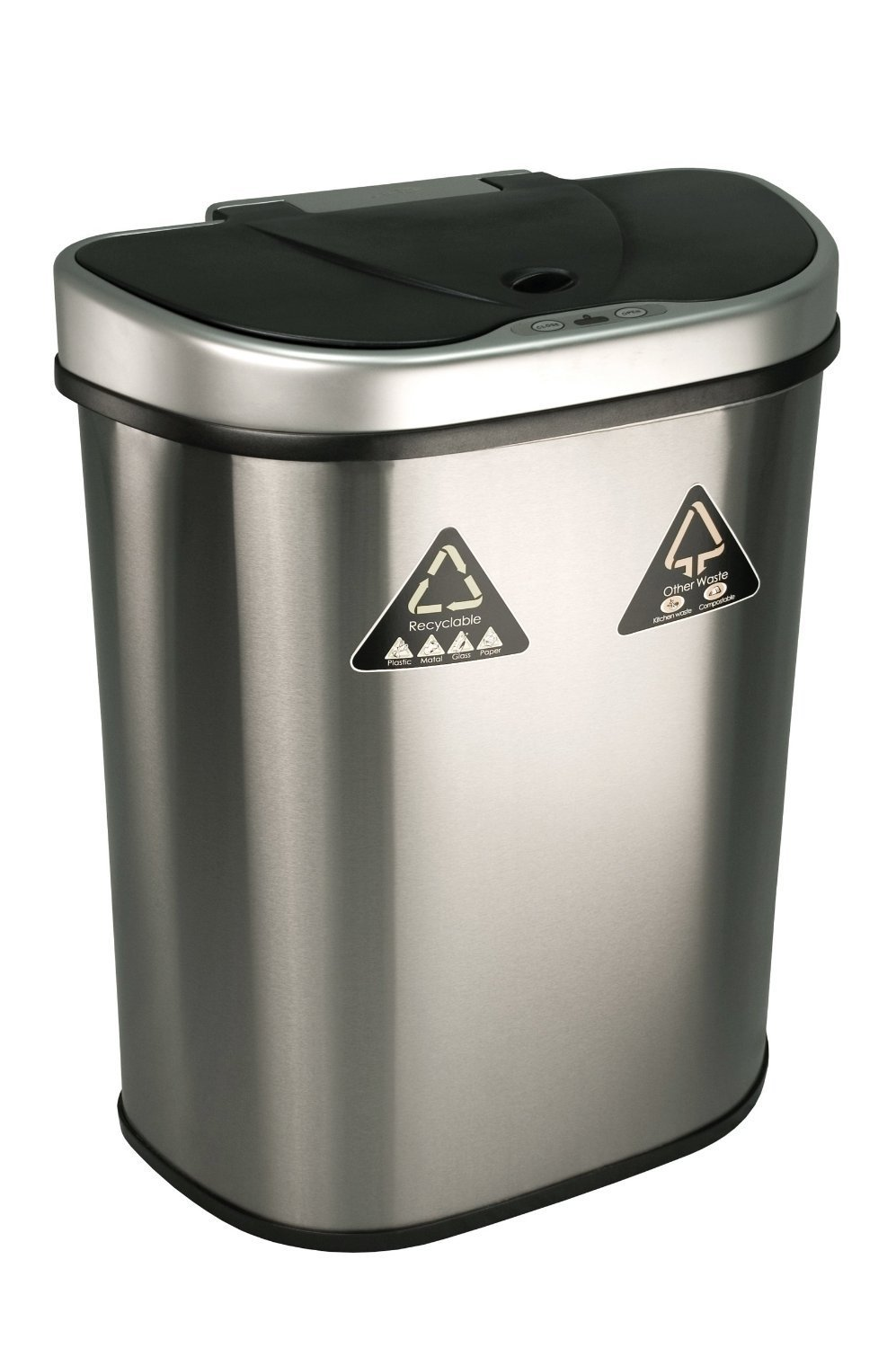 NINESTARS DZT-70-11R The Original Touchless Automatic Motion Sensor Trash Can/Recycler, 18.5 Gal. / 70 L., Stainless Steel
