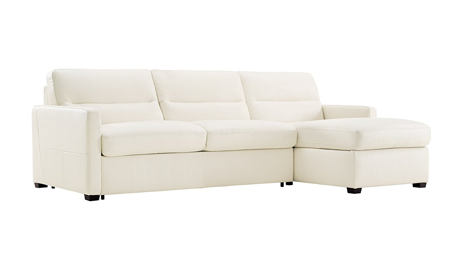 Natuzzi Editions Galileo Cream Leather Two Piece Sleeper Sectional with Storage Chaise