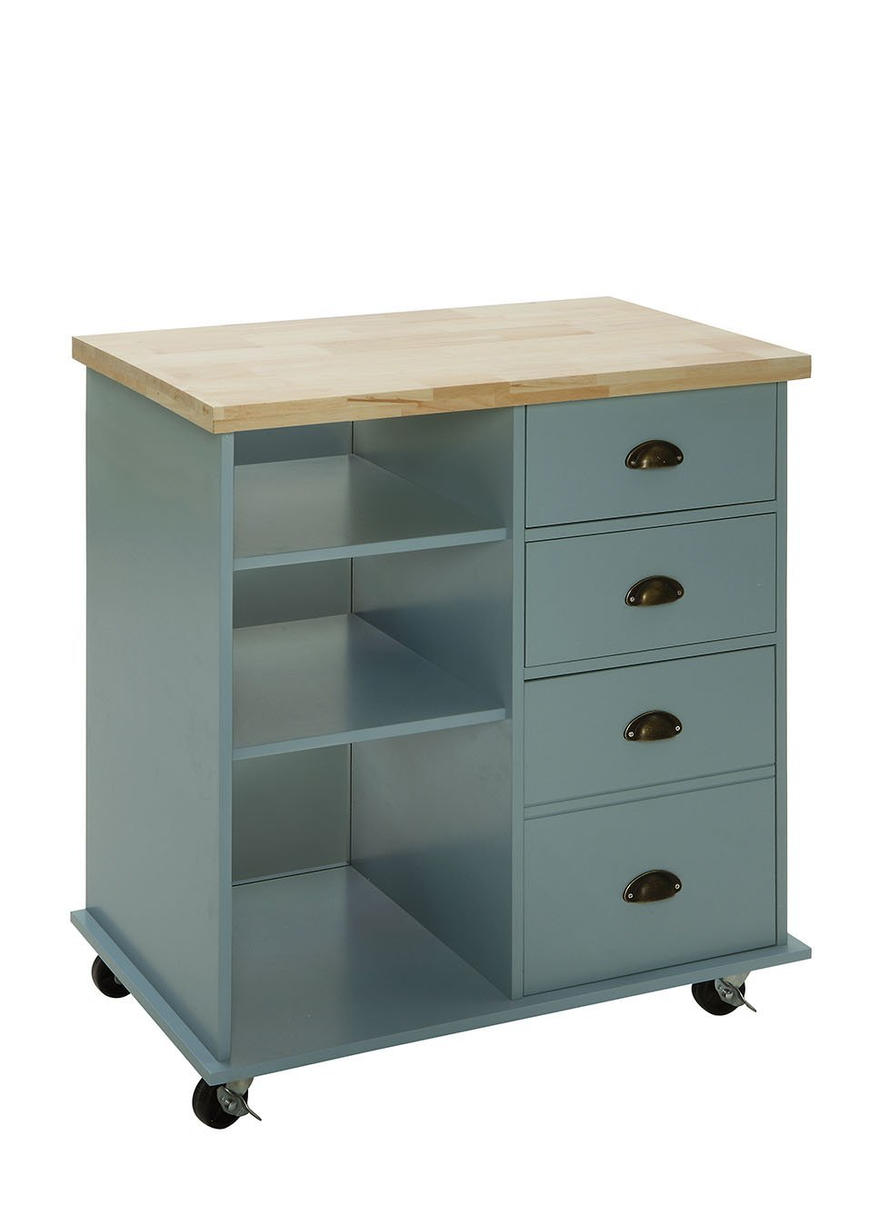 """Oliver and Smith - Nashville Collection - Mobile Kitchen Island Cart on Wheels - Blue Grey - Natural Oak Butcher Block - 31"""" W x 18"""" L x 36"""" H"""