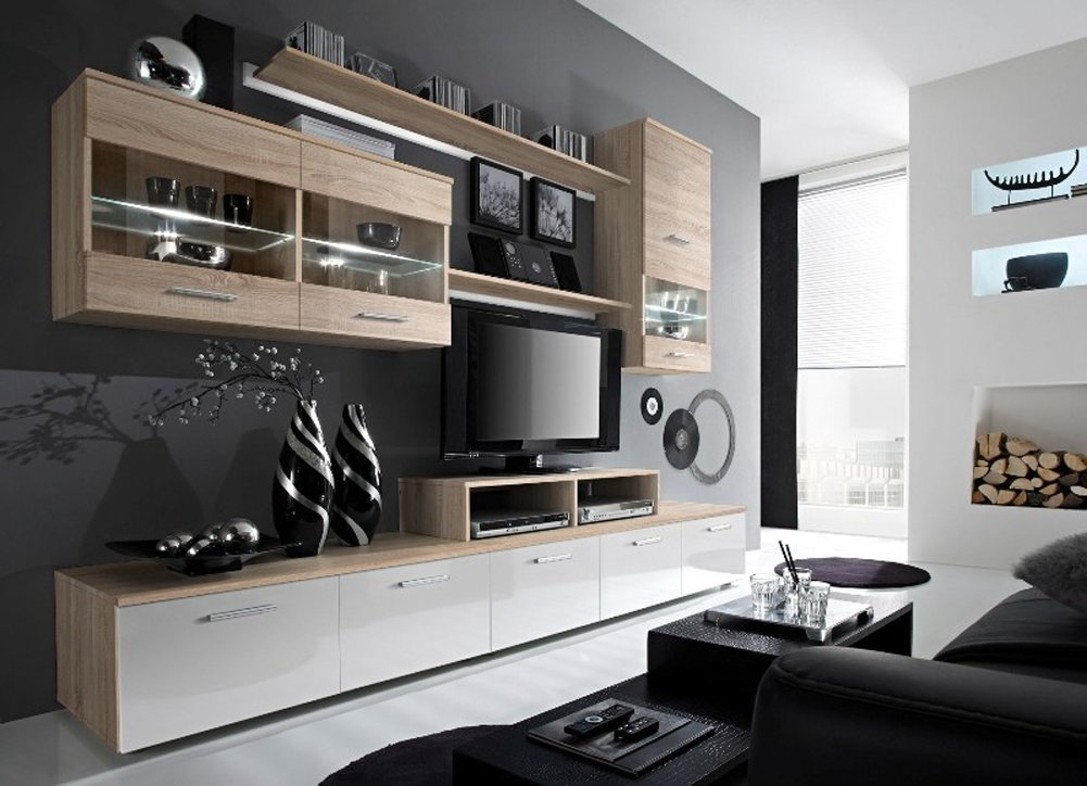 Paris Contemporary Design Wall Unit / Modern Entertainment Center / Unique Modern Design / with LED Lights / High Storage Capacity / Living Room Furniture / Tv Stand (Oak Sonoma)