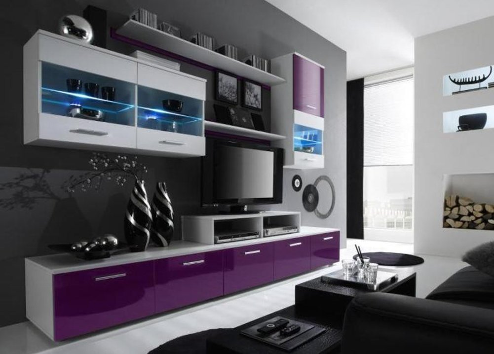 Paris Contemporary Design Wall Unit / Modern Entertainment Center / Unique Modern Design / with LED Lights / High Storage Capacity / Living Room Furniture / Tv Stand (Violet)