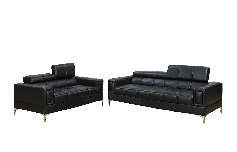 Poundex Bobkona Sierra Bonded Leather 2 Piece Sofa and Loveseat Set, Black