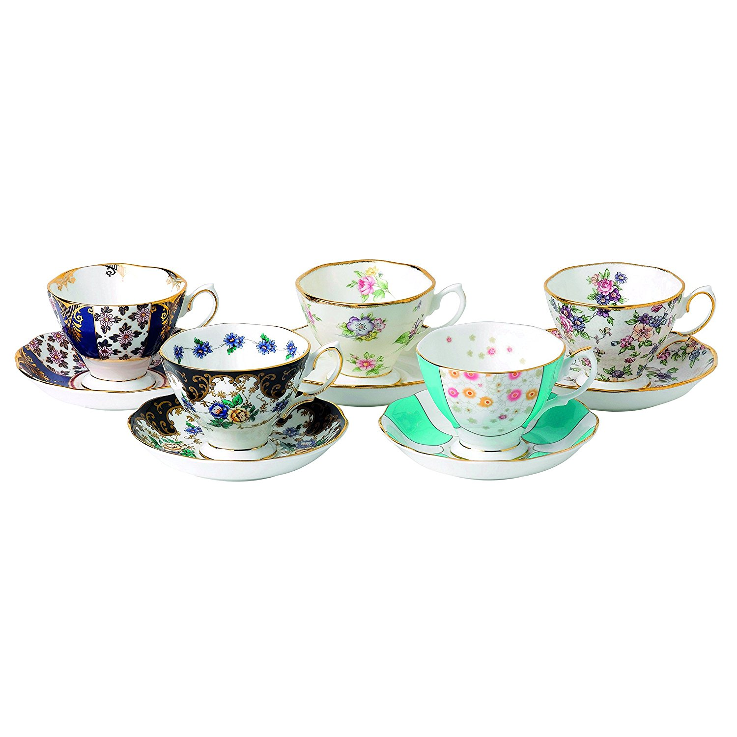 Royal Albert 5 Piece 100 Years 1900-1940 Teacup & Saucer Set, Multicolor
