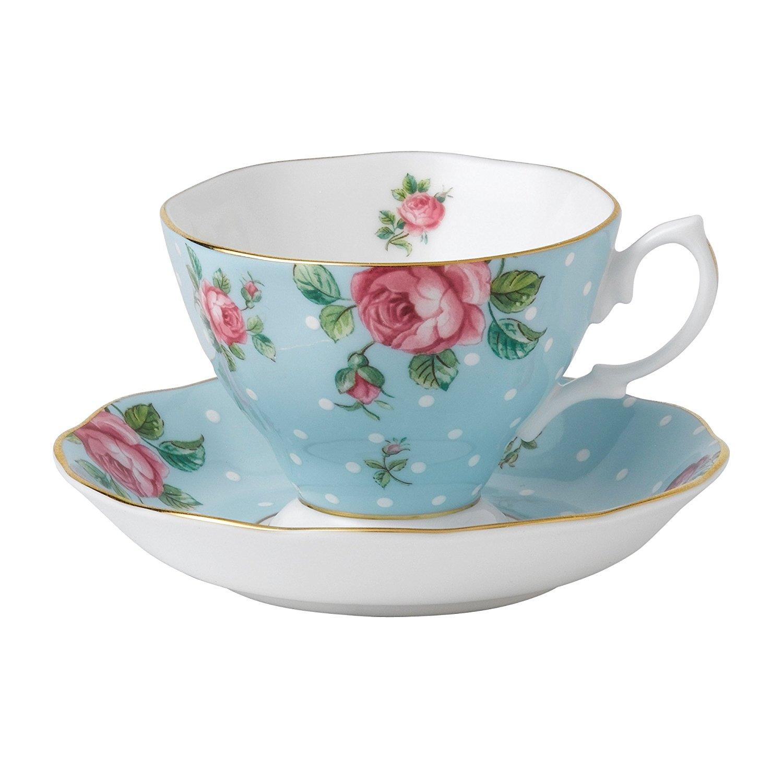 Royal Albert Formal Vintage Teacup and Saucer Boxed Set, Polka Blue