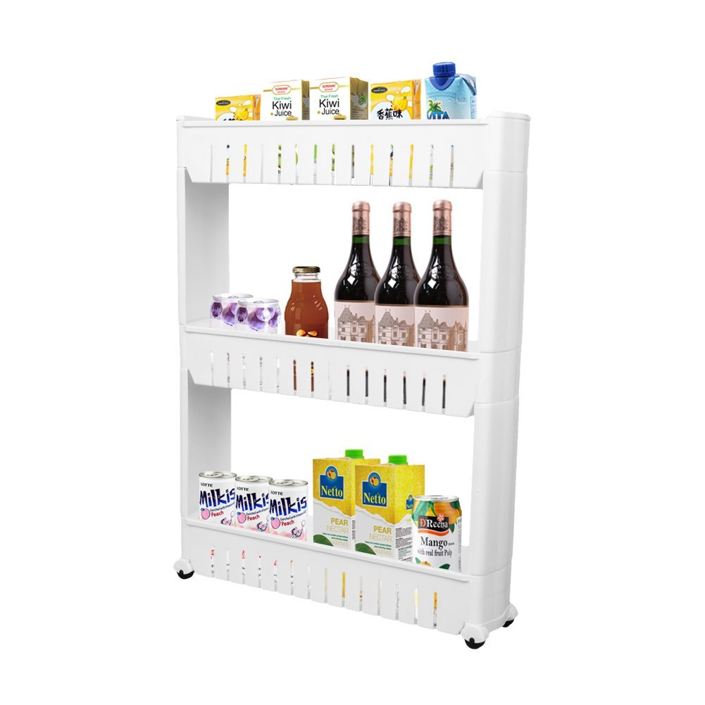 Storage Cabinet 3 Tier with 4 Wheels Slide out Storage Cabinet Rack Tower for Limited Space in Kitchen Bathroom Laundry Room by ZHCH(white)