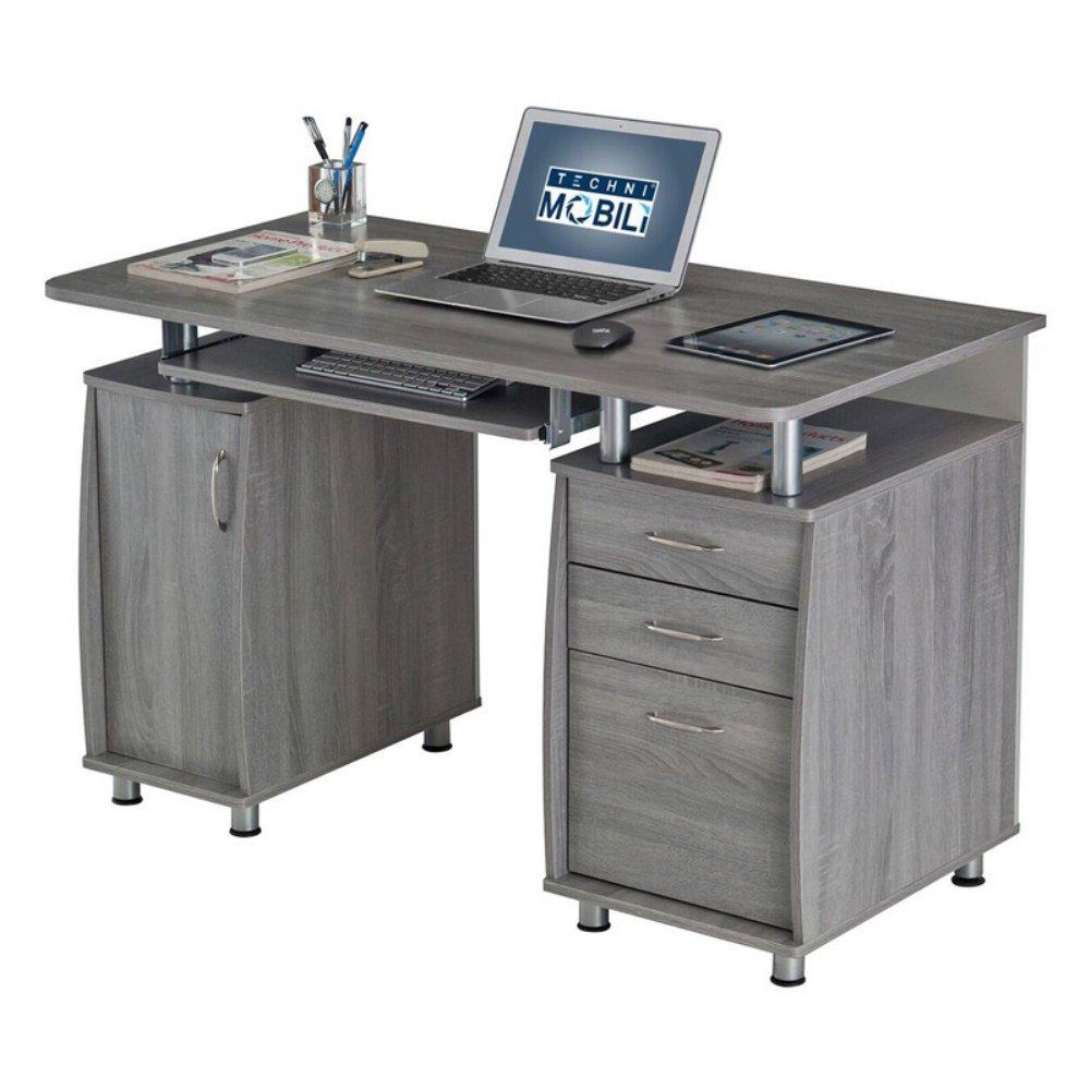 TECHNI MOBILI Complete Workstation Computer Desk with Storage - Grey