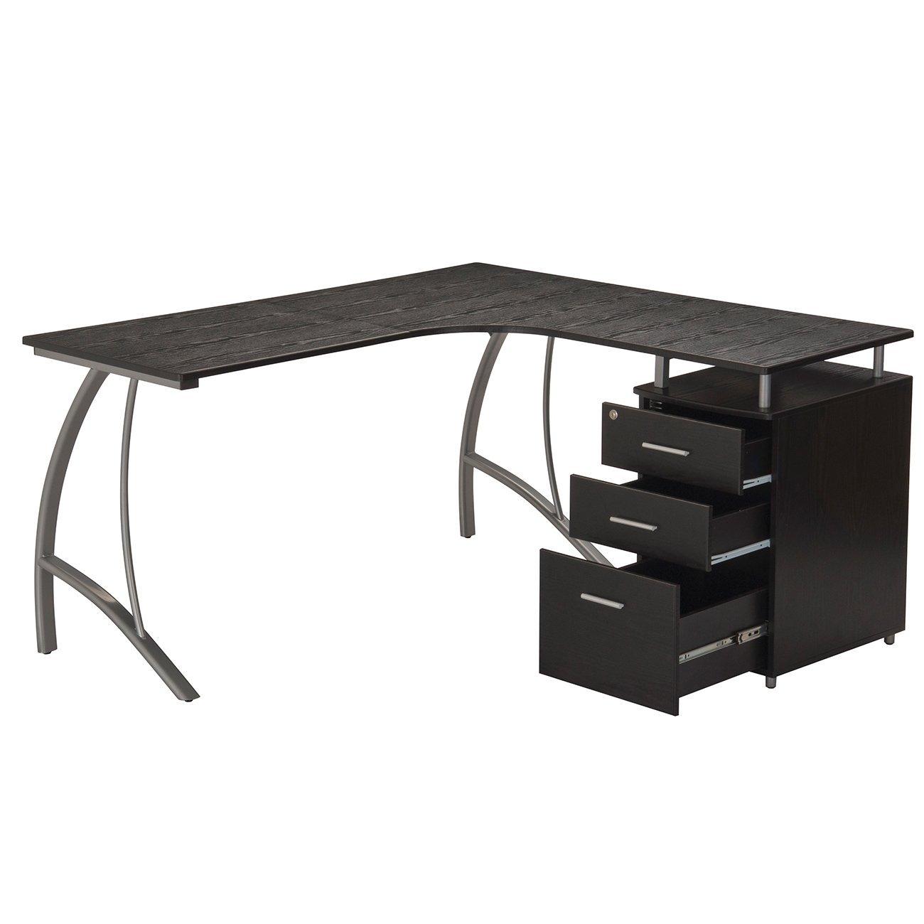 TECHNI MOBILI Modern L- Shaped Computer Desk with File Cabinet and Storage - Espresso