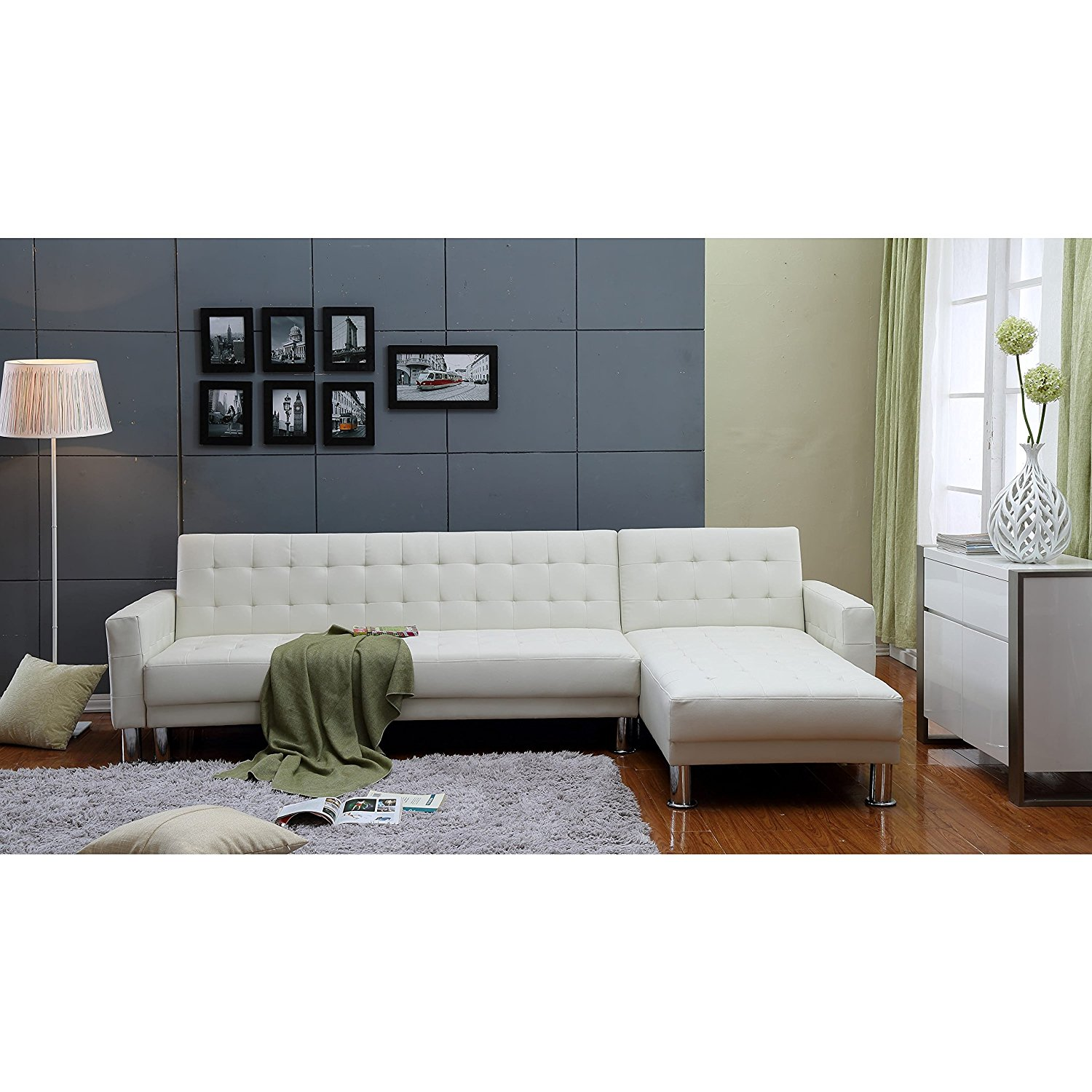 THY-HOM the-Hom Marsden 2-piece White Tufted Bi-cast Leather Sectional Sofa Bed