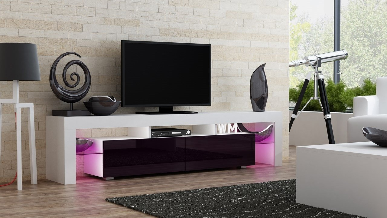 TV Stand MILANO 200 / Modern LED TV Cabinet / Living Room Furniture / Tv Cabinet fit for up to 90-inch TV screens / High Capacity Tv Console for Modern Living Room (White & Violet)