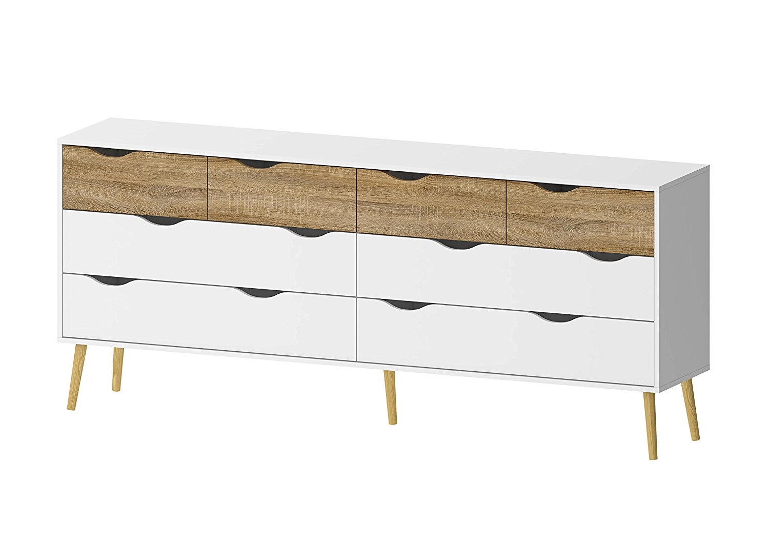Tvilum 7545549ak Diana 8 Drawer Dresser, White/Oak Structure