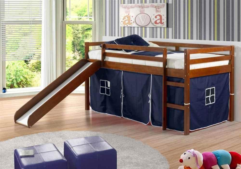 Twin Tent Loft with Slide and Slat-Kits Light Espresso, Blue Tent