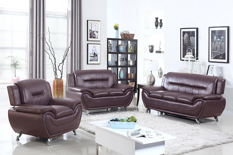 U.S. Livings Anya Modern Living Room Polyurethane Leather Sofa, Loveseat, and Chair Set (3-Piece, Dark Cherry)
