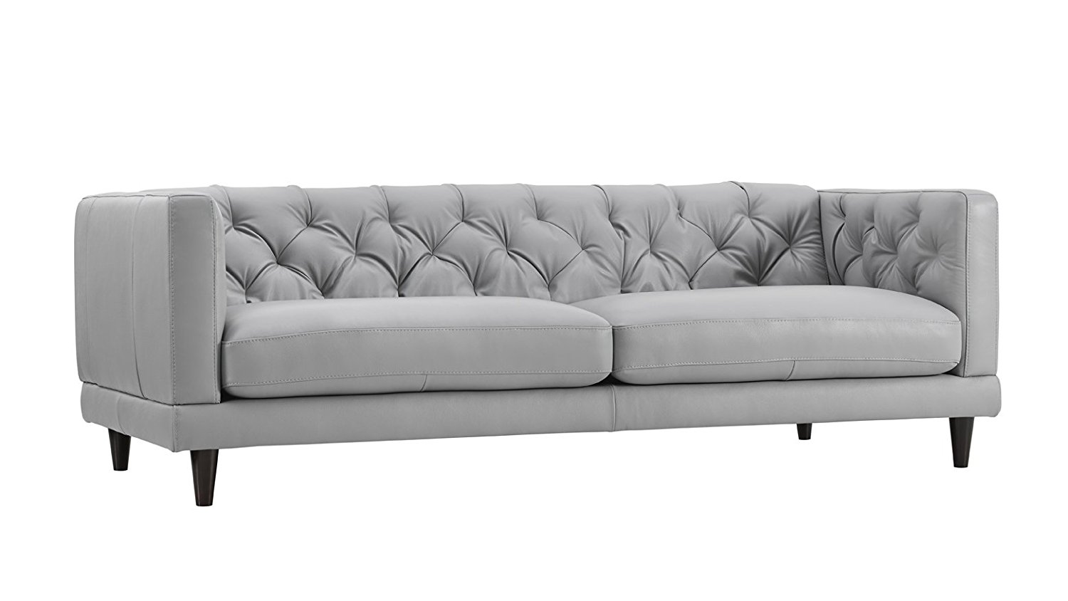 Zeno Light Grey Leather Stationary Sofa