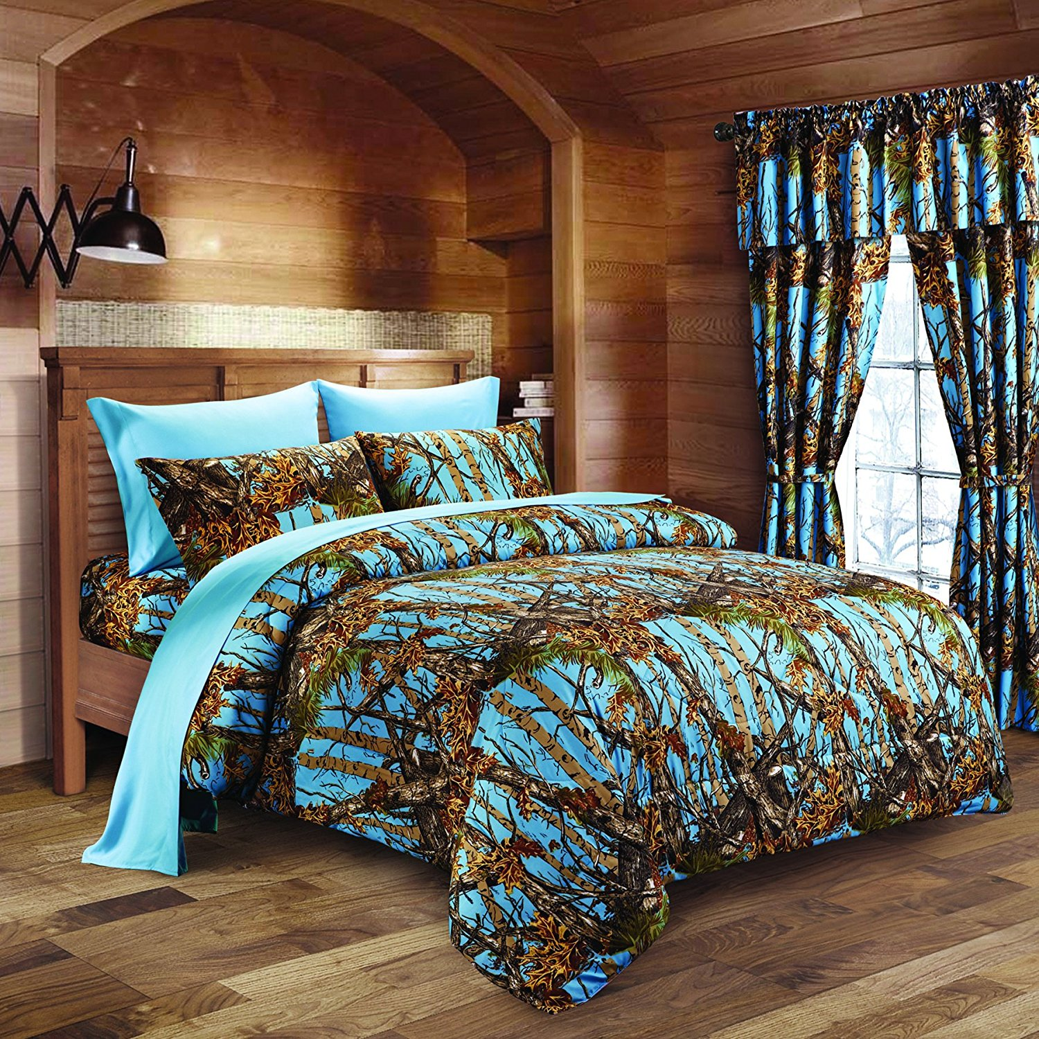 20 Lakes Luxurious Microfiber Powder Blue Camo Comforter & Sheet Set Bed in a Bag - Queen