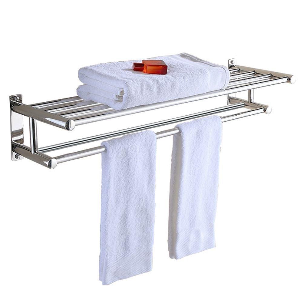 Aluminum Double Towel Bar 24 inch wih 5 Hooks ,bathroom shelves?towel holders bath ,towel rack ,bathroom shelves