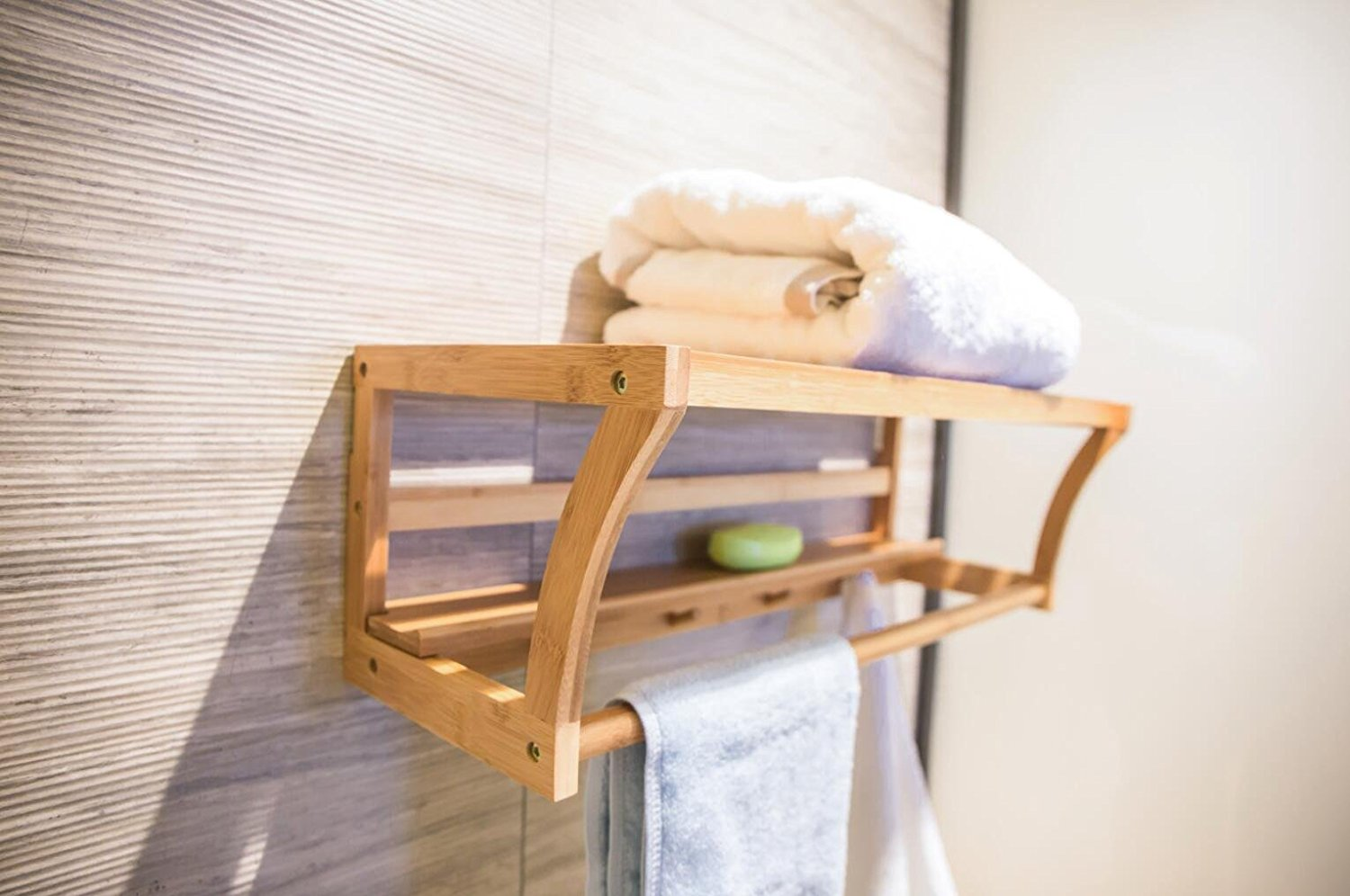 Bamboo Towel Bar and Towel Rack with Shelf and Hooks for Bathroom Kitchen By BAMBUROBA
