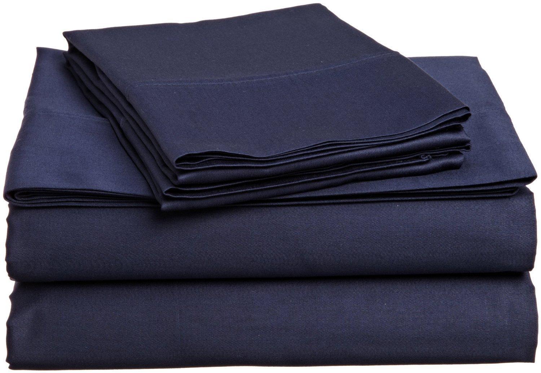 COLLEGE DORM MICROFIBER TWIN EXTRA LONG 3 Pc SHEET SET - NAVY BLUE