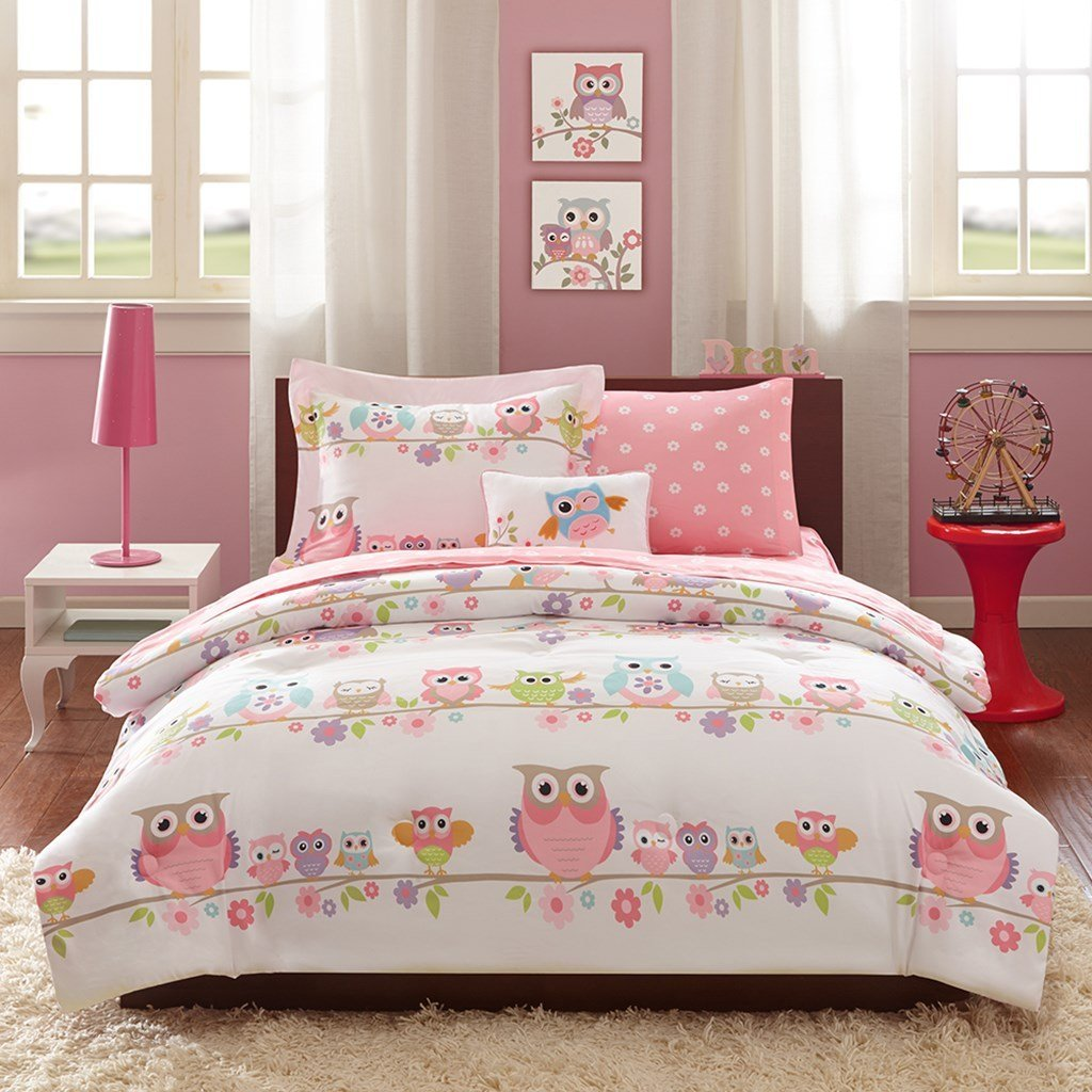 Girls OWL Bedding Full Pink White Blue Green Purple Orange Comforter Set + Sheets + Pillowcases + 2 Matching Shams + 1 Decorative Throw Pillow + H.S. Sleep Mask Owls Theme Teen Kids Comforters