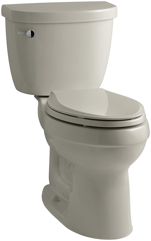 KOHLER K-3589-G9 Cimarron Comfort Height Elongated 1.6 gpf Toilet with AquaPiston Technology, Less Seat, Sandbar