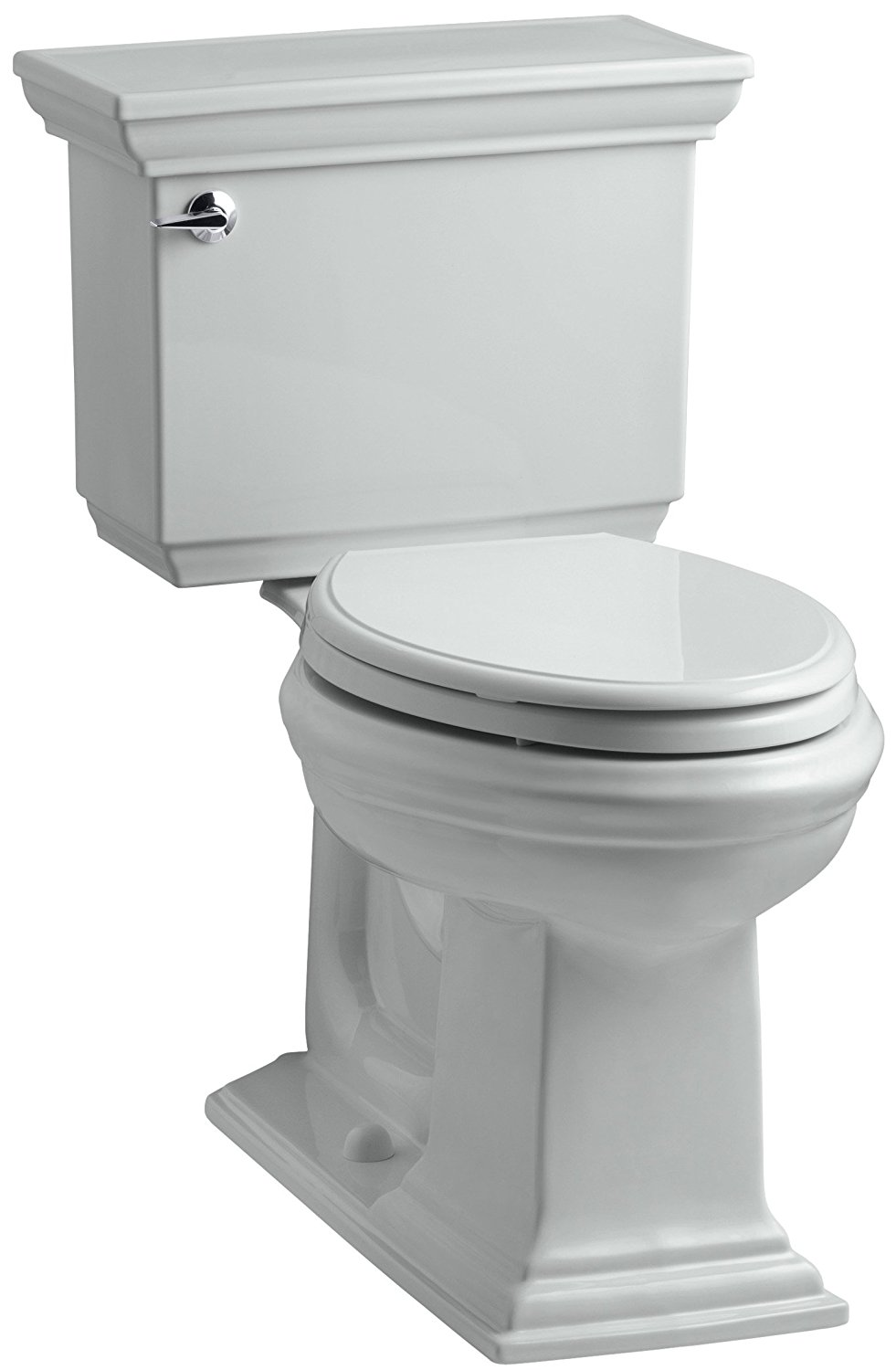 KOHLER K-3817-95 Memoirs Stately Comfort Height Two-Piece Elongated 1.28 GPF Toilet with AquaPiston Flush Technology and Left-Hand Trip Lever, Ice Grey