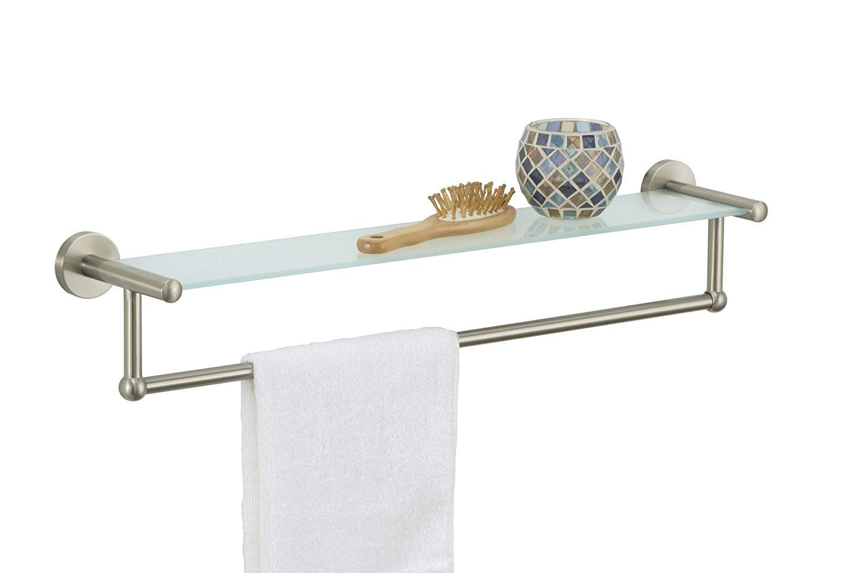 Organize It All Satin Nickel Glass Shelf with Towel Bar