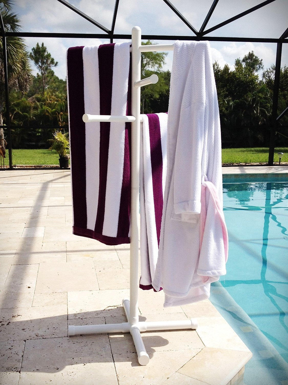 Pool & Spa Towel Rack Premium Extra Tall Towel Tree Outdoor PVC White
