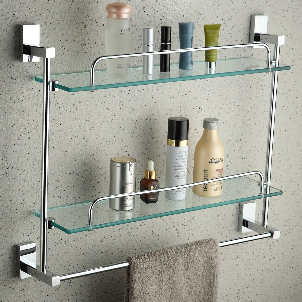 YUTU JL00 Wall Mounted Rctangular Bathroom Cosmetic Shelf with Towel Bar Polished Chrome Solid Brass Glass Rack Holder 21.5-inch (Double Layers)