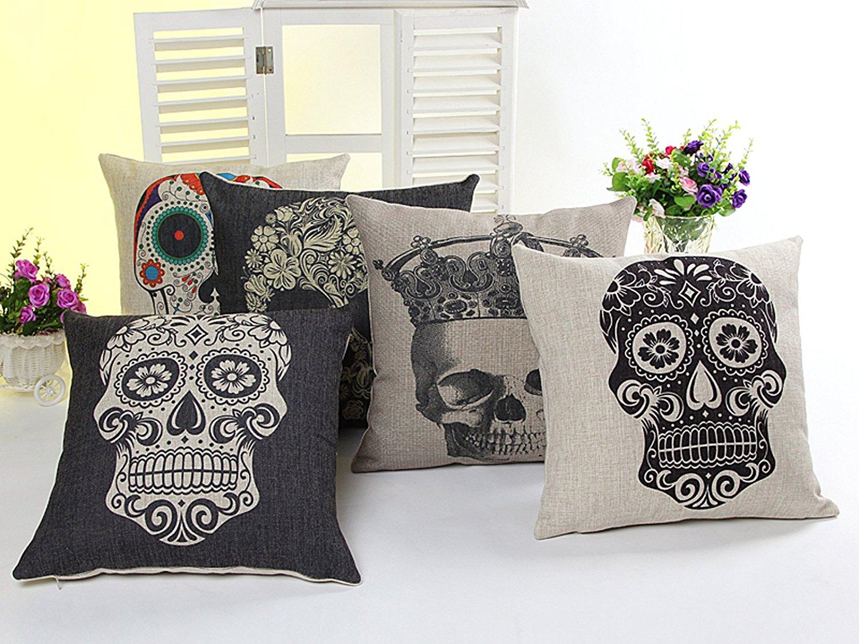 5 PCS 18'' Vintage Black&Colourful Sugar Skull Linen Pillow Cushion Covers 5KD1