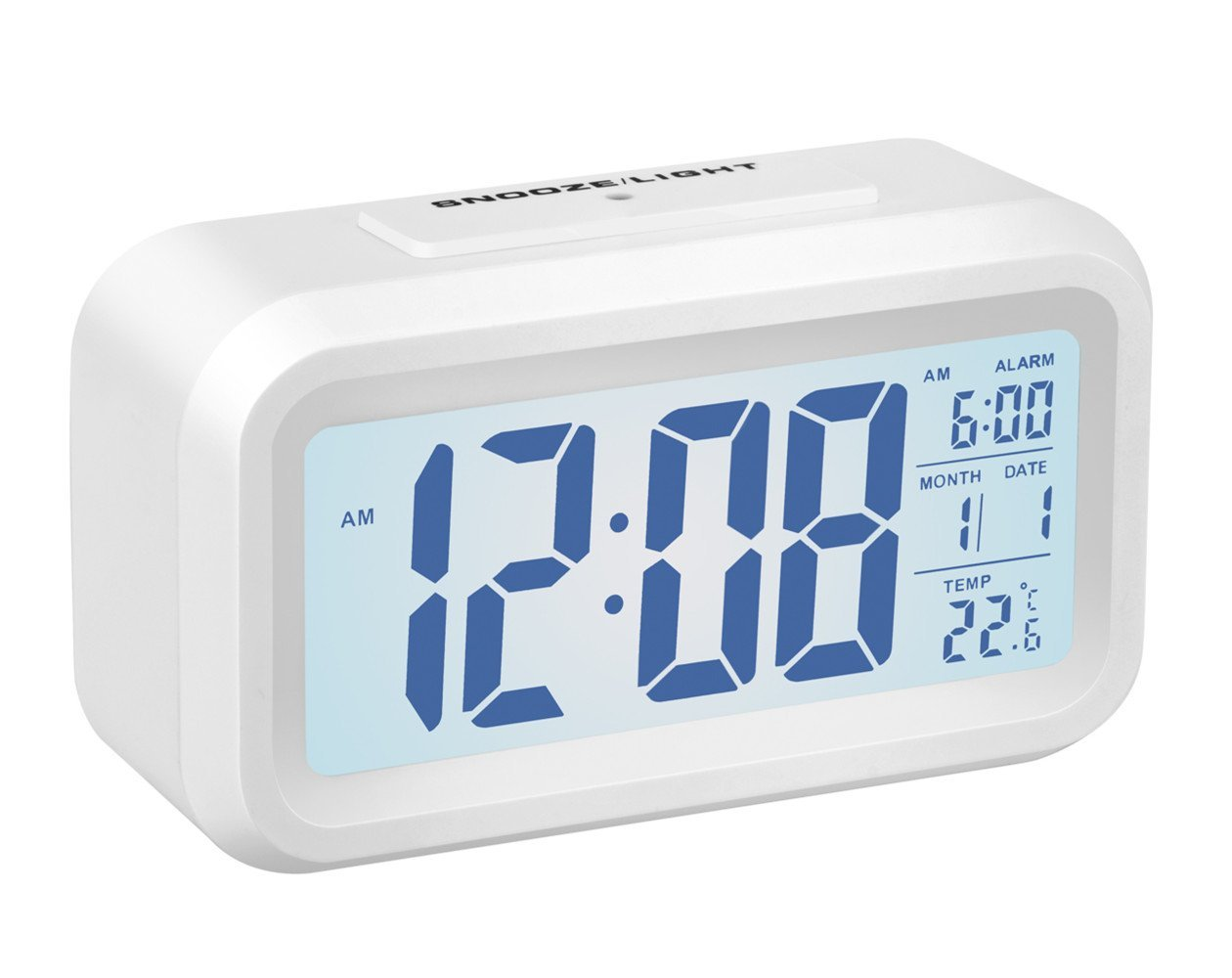 Alarm Clock,Gabone Battery Operated with Large Lcd Display Temperature Display Nightlight and Snooze Smart Backlight Digital Alarm Clock (White)