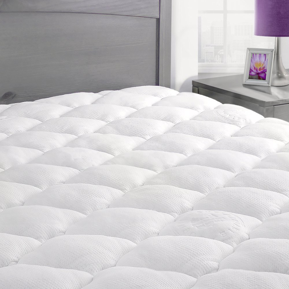 Bamboo Mattress Pad with Fitted Skirt - Extra Plush Cooling Topper - Hypoallergenic - Made in the USA, California King