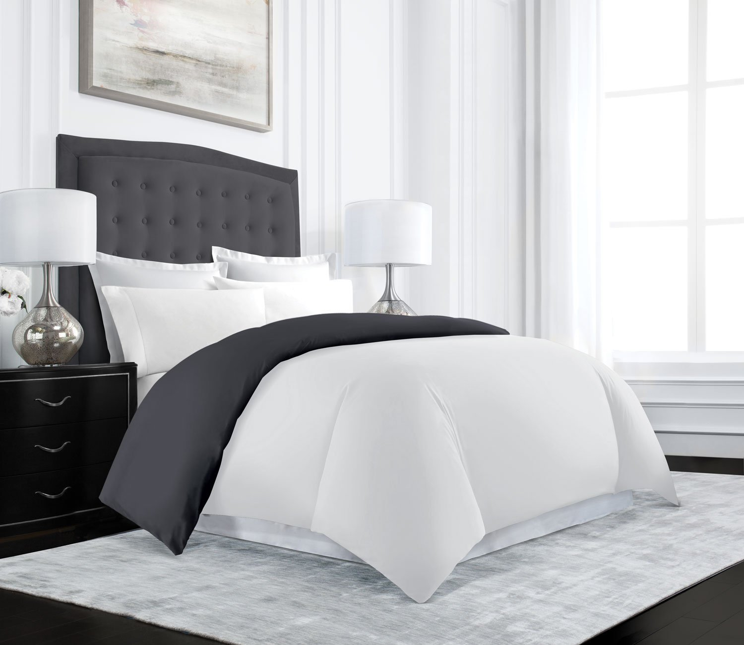 Beckham Hotel Collection Luxury Reversible Duvet Cover Set - Luxurious Soft-Brushed Microfiber, Hypoallergenic and Stain Resistant -Twin/Twin XL - Gray/White