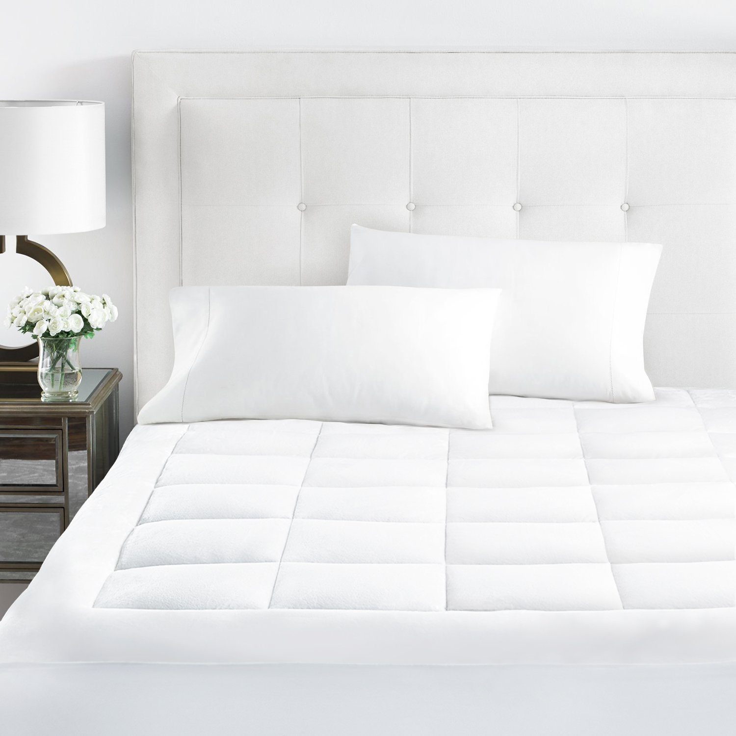 Beckham Hotel Collection Premium Microplush Mattress Pad - Hypoallergenic Ultra Soft Overfilled Topper with Deep Fit -Cal King