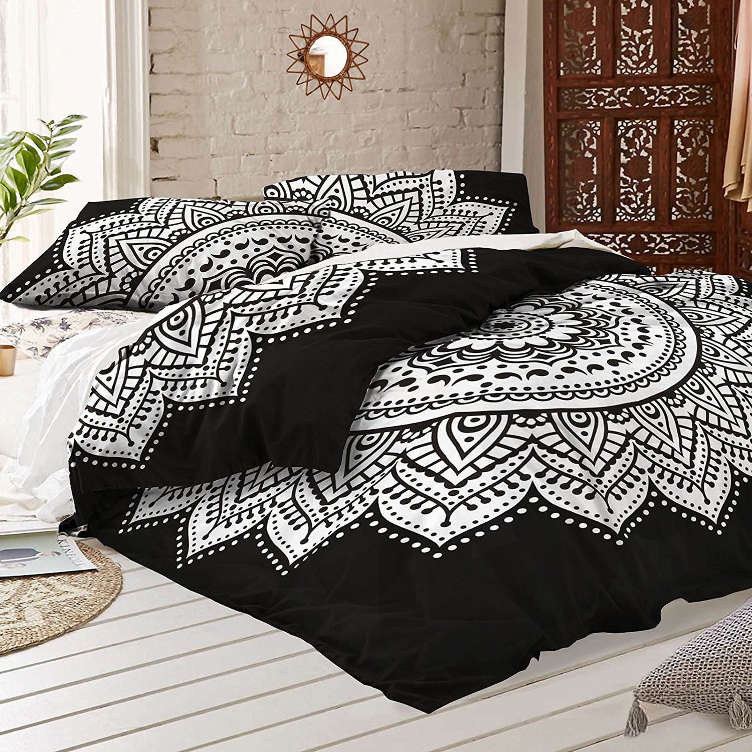 Black and white Mandala Duvet Cover With Two Pillow Covers - Bohemian Doona set- Indian Reversible Quilt Cover By RawyalCrafts