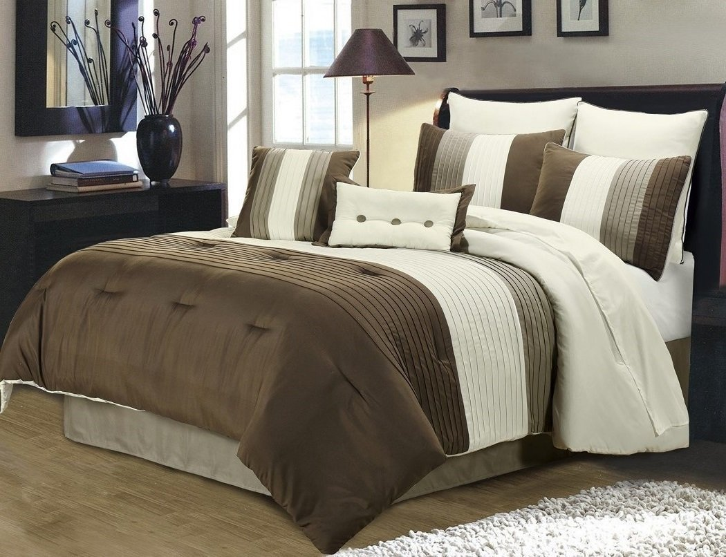 Chezmoi Collection 8 Pieces Luxury Striped Comforter Set (California King, Brown/Off-white/Taupe)