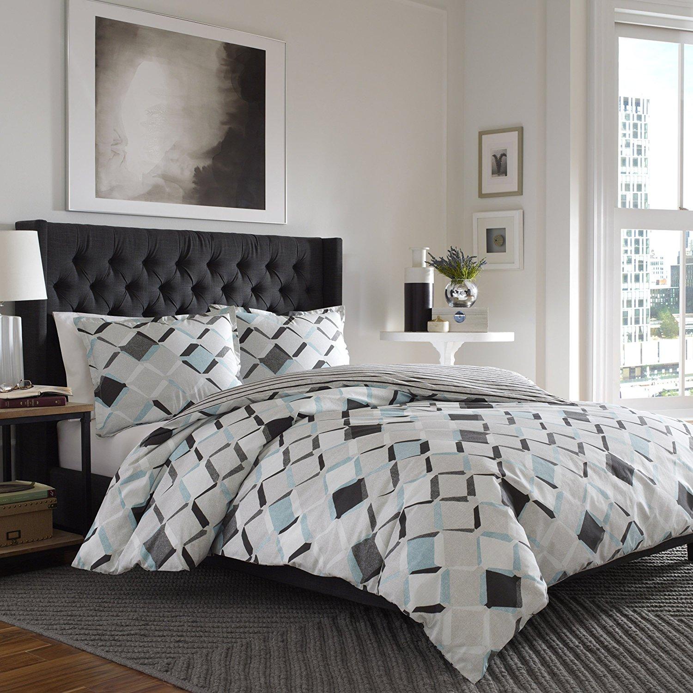 City Scene Jackson Comforter Set, Full/Queen, Medium Gray