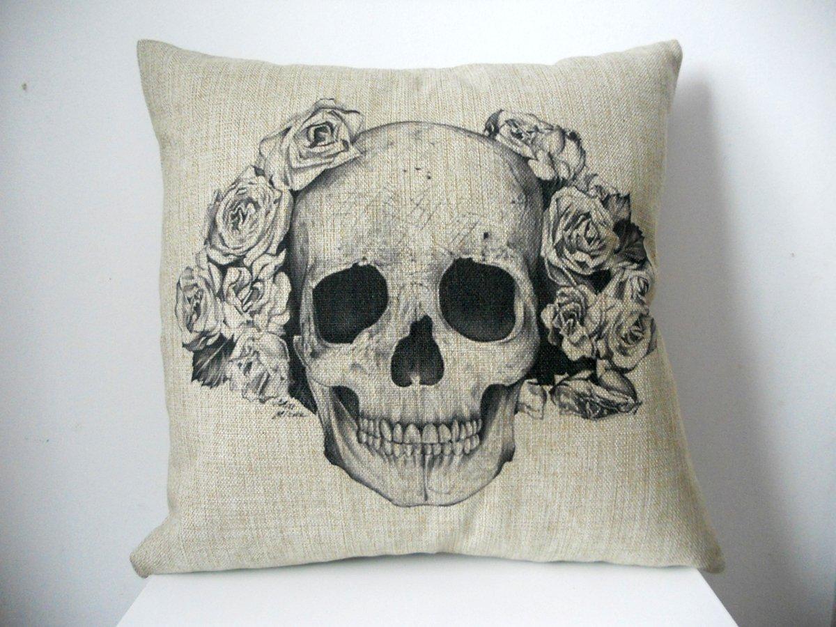 "Decorbox Cotton Linen Square Decorative Fashion Throw Pillow Case Cushion Cover Black White Rose Skull 18"""