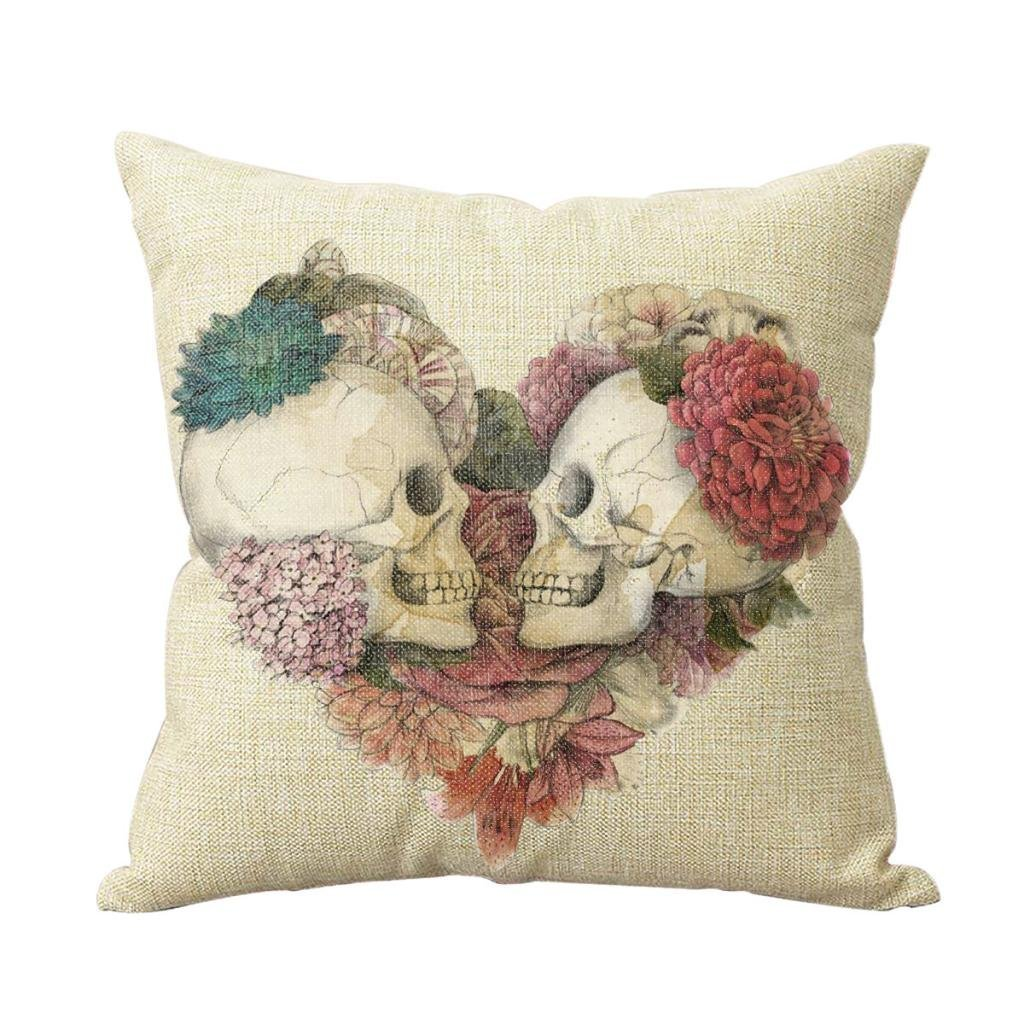 Decorbox Two Skulls in Love Cotton Linen Decorative Cushion Covers Vintage Skull Throw Pillow Cases for Sofa Hot Sale 18X18''