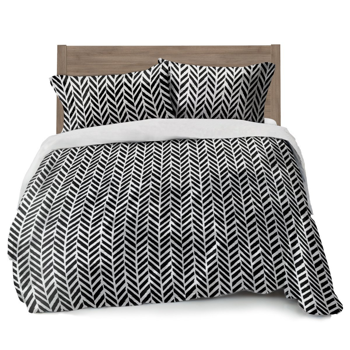 Full Queen Black and White Duvet Cover Herringbone Design w/ 2 Pillowcases by Where The Polka Dots Roam